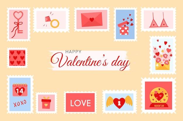 Романтические почтовые марки с сердечками на день святого валентина. милый фон для влюбленных с конвертом, цветами, подарками.