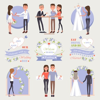 Romantic proposal, rings choice, white gown try-on, room decoration, invitation sending and marriage ceremony vector illustrations set.