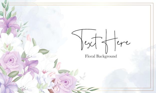 ロマンチックな紫色の花の背景テンプレート