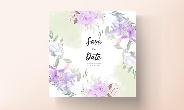 로맨틱 보라색 꽃 결혼식 초대 카드 템플릿