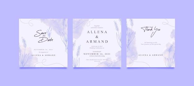 ソーシャルメディアの投稿のためのロマンチックな紫色のラベンダーの結婚式の招待状の広場