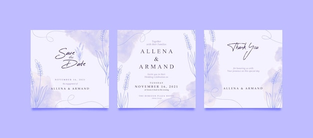 Romantic purple lavender wedding invitation square for social media post
