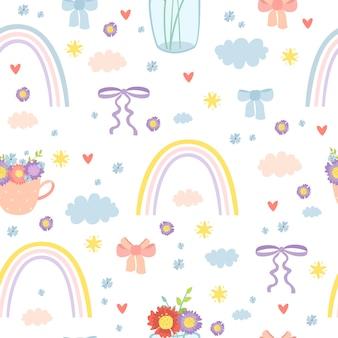 Romantic rainbow seamless pattern