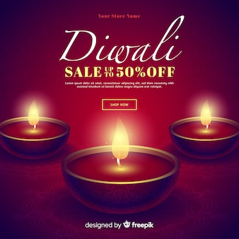 Romantic realistic diwali special sales and candles