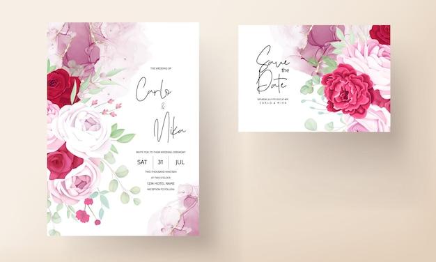 Романтический красный и розовый цветочный шаблон свадебного приглашения с фоном алкогольных чернил