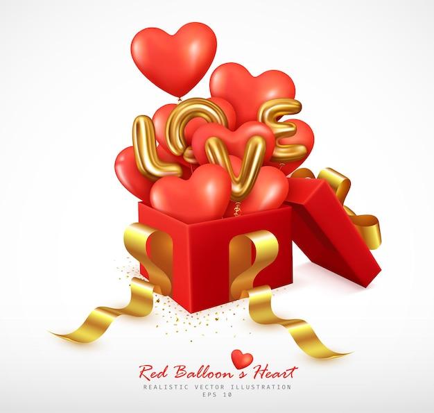 Романтические красные шары в форме сердца и письма о любви отскакивают от подарочной коробки