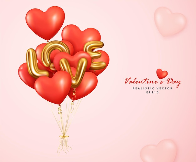 Romantic red balloons heart and letter love