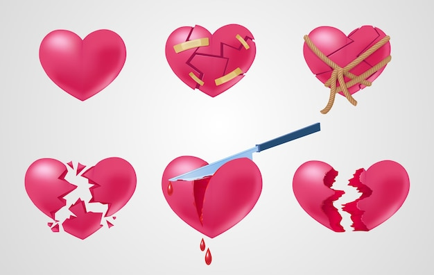 Romantic red elements set with broken stuck shattered cut out torn and roping hearts isolated vector illustration