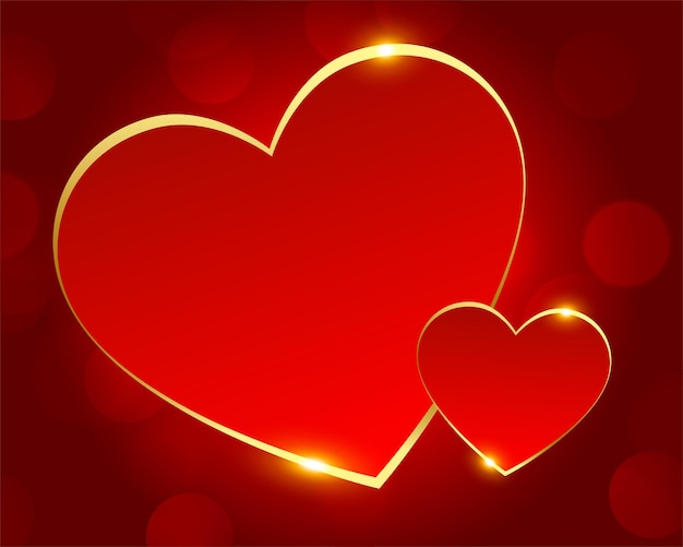 Romantic red and golden love hearts