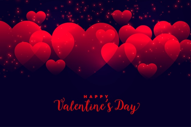 Romantic red hearts background for valentines day