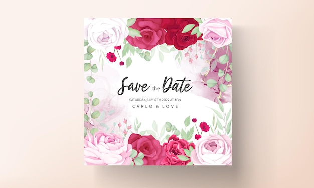 Romantic red and pink floral wedding invitation template with alcohol ink background