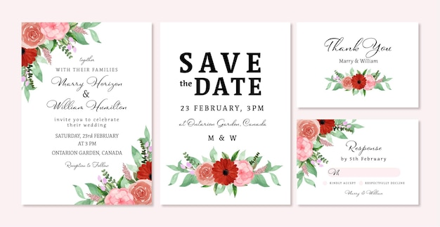 Romantic red and pink rustic floral wedding invitation set