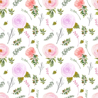 Romantic red purple rustic floral seamless pattern