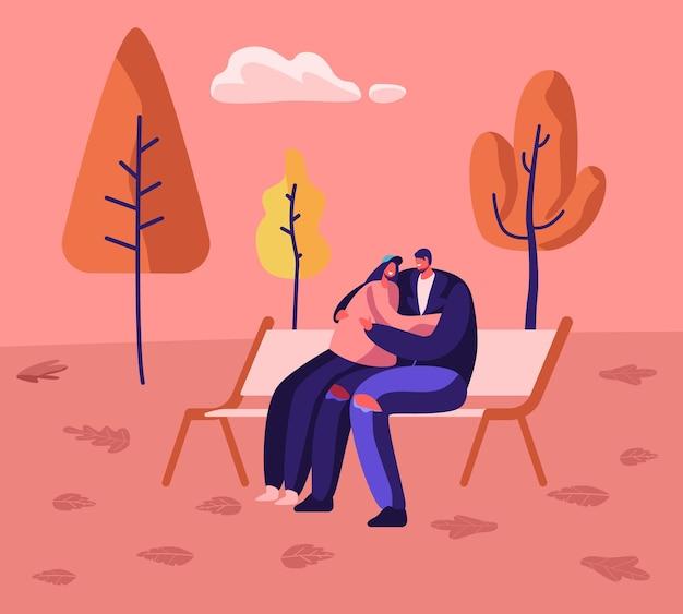 ロマンチックな関係、一緒に秋の日の遊歩道。愛する幸せなカップル抱きしめる、漫画フラットイラスト