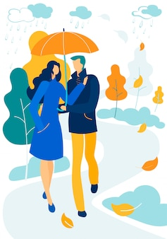 Romantic relations, fall day promenade together
