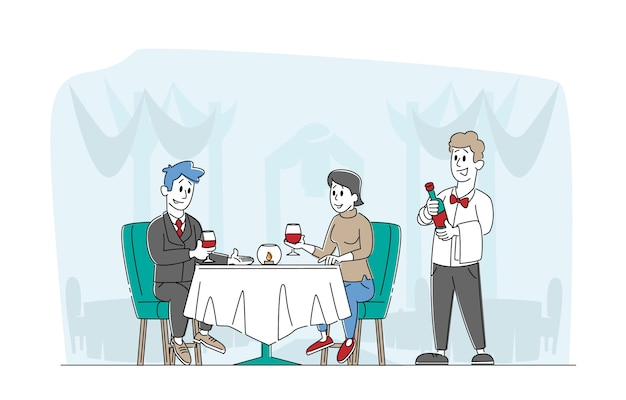 ロマンチックな関係は、レストランでデート幸せな愛情のあるカップルのキャラクターに会うのが大好きです