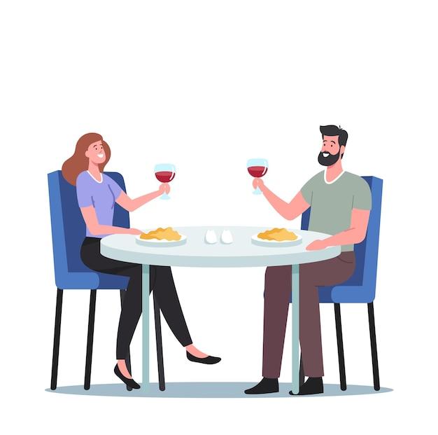 ロマンチックな関係、会議。レストランでデートの男性と女性のキャラクターの幸せな愛情のあるカップル。愛の宣言、眼鏡を手に持つ若い男性と女性。漫画のベクトル図