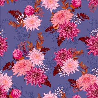 Romantic retro blooming flower in many kind of flowers in the garden seamless pattern