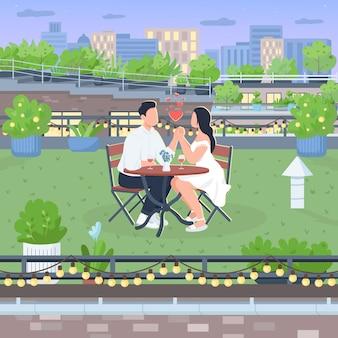 Романтическая дата на крыше плоская цветная иллюстрация