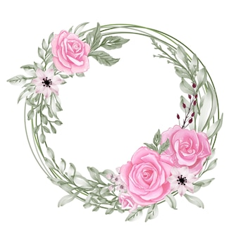 Romantic rose pink pastel with green leaf watercolor wreath round