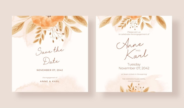 ロマンチックな素朴な自由奔放に生きる結婚式の招待状の正方形のテンプレート
