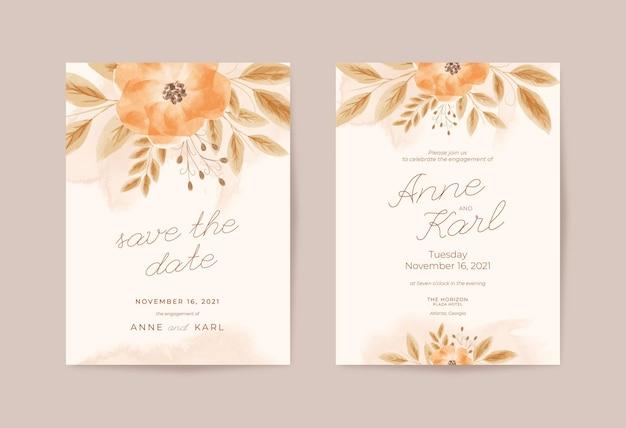 Романтический деревенский свадебный шаблон приглашения с красивой цветочной акварелью