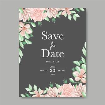 ロマンチックな水彩画の花の背景で日付の招待状を保存します