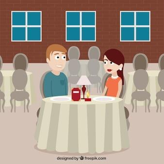 식당에서 낭만적 인 장면