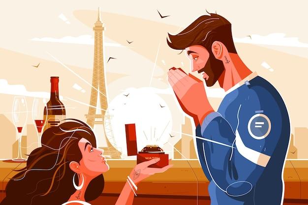 Романтическая сцена влюбленных иллюстрации
