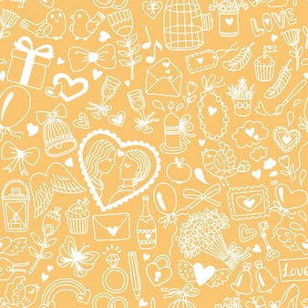Romantic seamless pattern in cartoon style. wedding or valentines day illustration