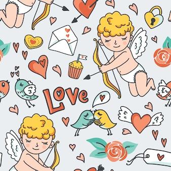 ロマンチックなシームレスパターン。かわいいキューピッド、鳥、封筒、ハート、その他のデザイン要素。図