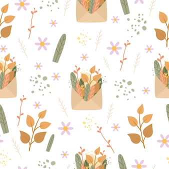 Romantic seamless pattern envelope and plants