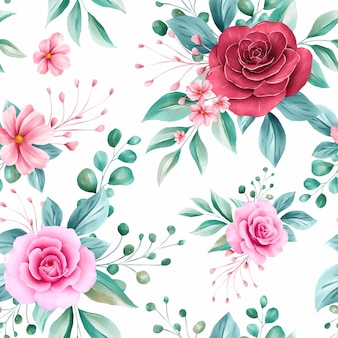 Romantic seamless pattern of red and peach watercolor flowers arrangements