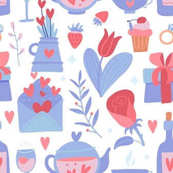 Romantic seamless pattern with flower and heart, teapot and bottle, strawberry and branches on a white background.