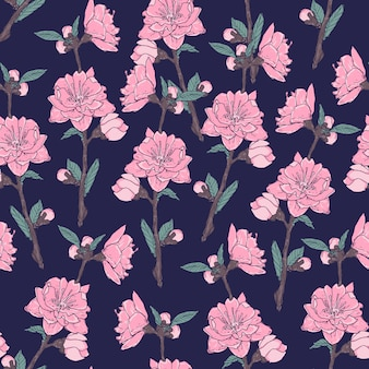Romantic seamless pattern with gorgeous blooming garden flowers on dark background.