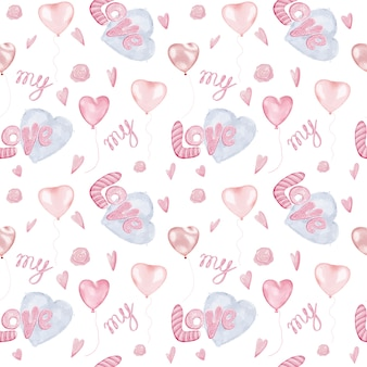 Romantic seamless pattern with hearts and word love for wrapping paper
