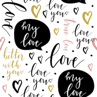 Romantic seamless pattern with lettering.