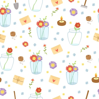 Romantic seamless pattern with letters