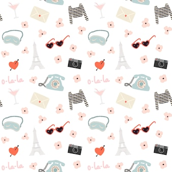 Romantic seamless pattern with a lot of travel elements