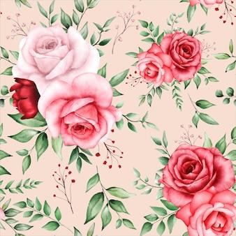 あずき色の花とロマンチックなシームレスパターン