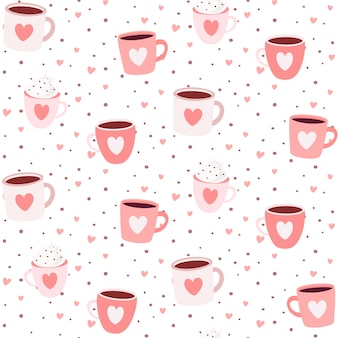 Romantic seamless pattern with mugs and hearts