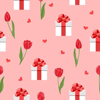 Romantic seamless pattern with red flowers tulips hearts and white gift boxes