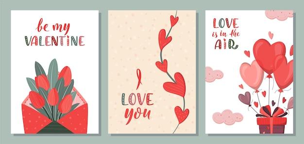 Romantic set of greeting card