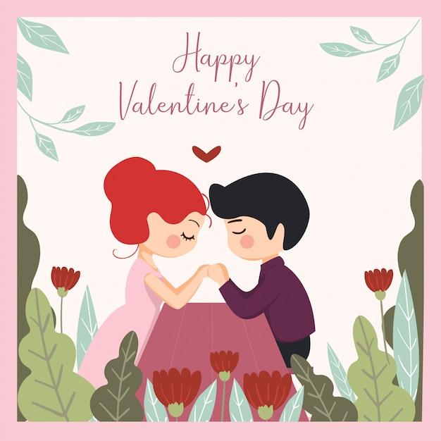 귀여운 일러스트의 로맨틱 세트. 러브 스토리, 관계. 발렌타인 데이