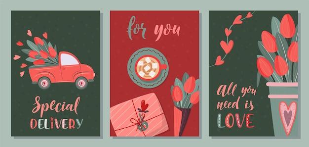 Romantic set of postcard on dark background