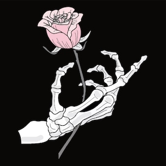 A romantic skeleton holds a rose in his hand. vector illustration