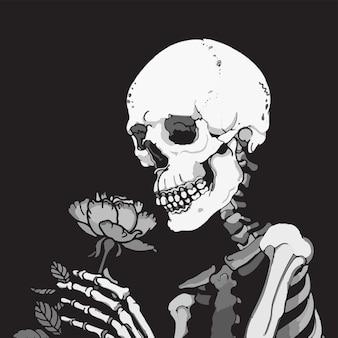 花を嗅ぐロマンチックなスケルトン。抽象的な黒と白のイラスト
