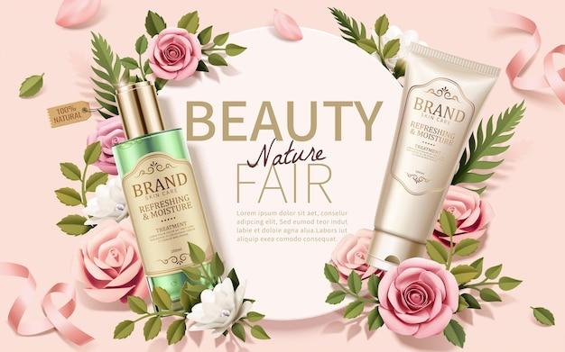 Romantic skincare ads with elegant paper art flowers decorations on light pink background, 3d illustration