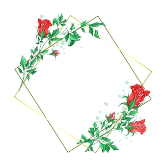Romantic square frame with beautiful rosebuds in watercolor style