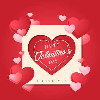 Romantic square paper art happy valentine card illustration